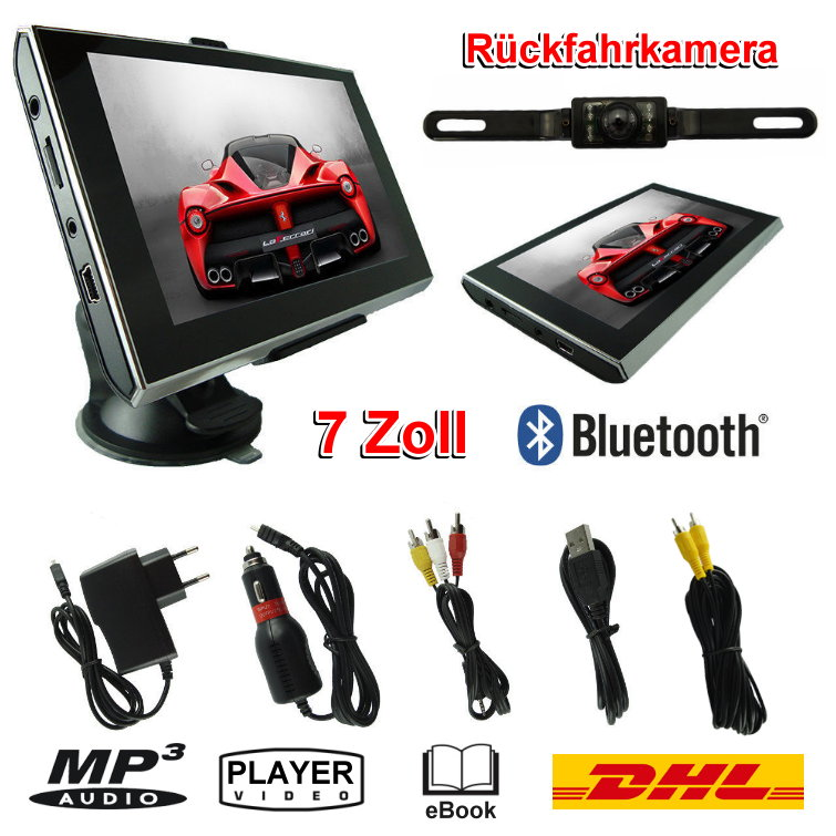 7 zoll bluetooth navigationsger t mit r ckfahrkamera mp3 und video player dhl ebay. Black Bedroom Furniture Sets. Home Design Ideas