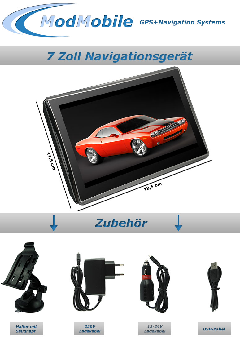 7 zoll navigation gps navigationsger t 3d europa pkw lkw. Black Bedroom Furniture Sets. Home Design Ideas