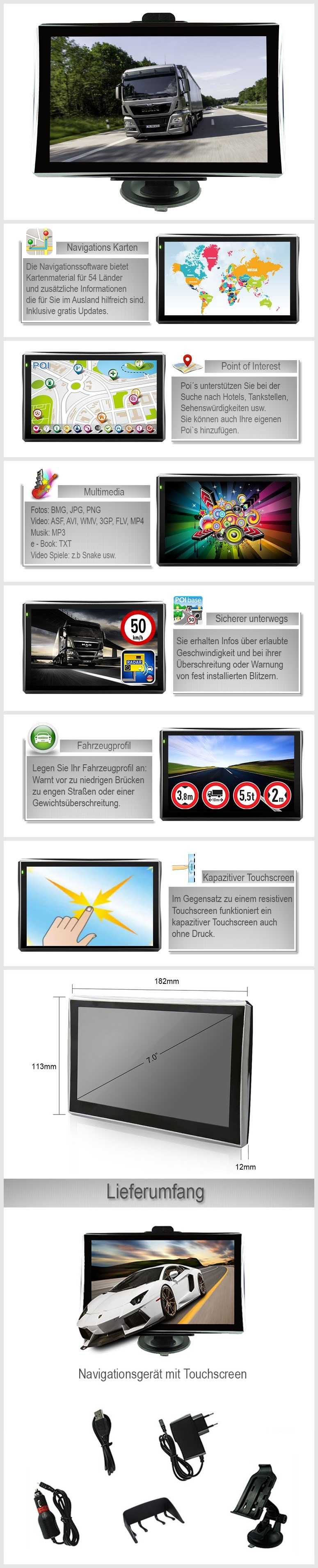 mediatek 7 zoll lkw pkw bus navi navigation. Black Bedroom Furniture Sets. Home Design Ideas