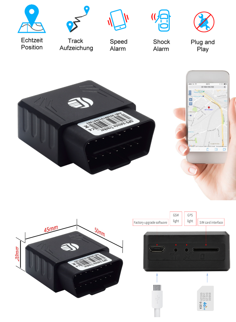 gps tracker tk306 obd gps sender ortung peilsender kfz. Black Bedroom Furniture Sets. Home Design Ideas
