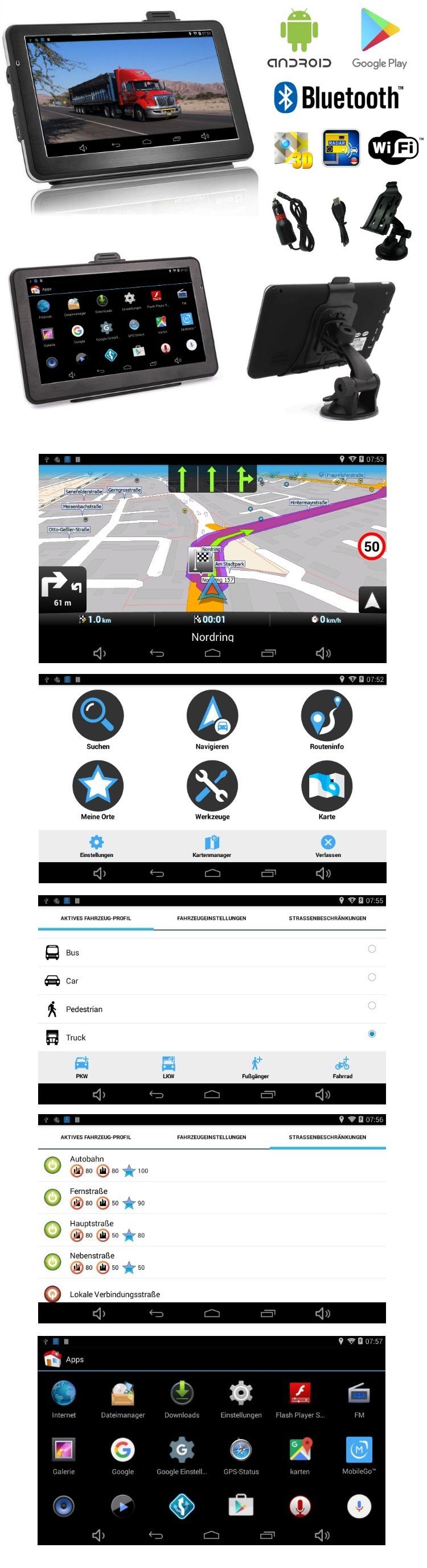 7 zoll navigationsger t navi und tablet f r lkw pkw bus. Black Bedroom Furniture Sets. Home Design Ideas